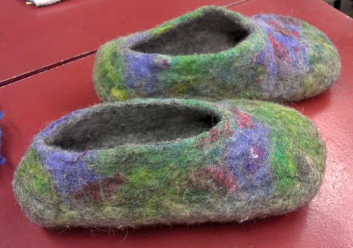 Felted slippers made by Janet Hamous at the January workshop