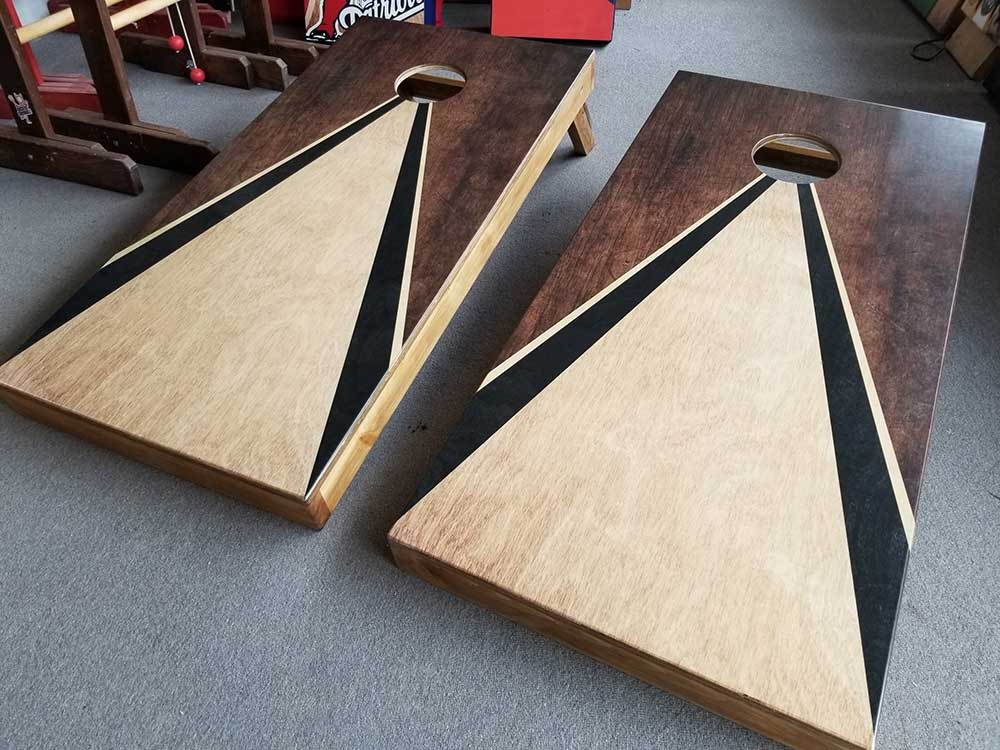 Classic Low Triangle Maple/Walnit stain Cornhole Board Set