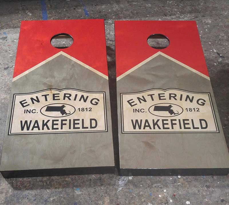 Entering your town cornhole board set.