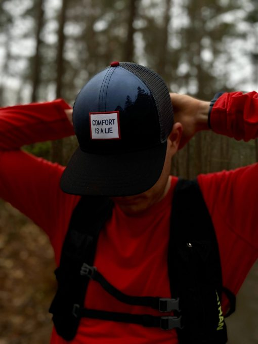 'Comfort Is A Lie' trail / ultra running performance trucker hat