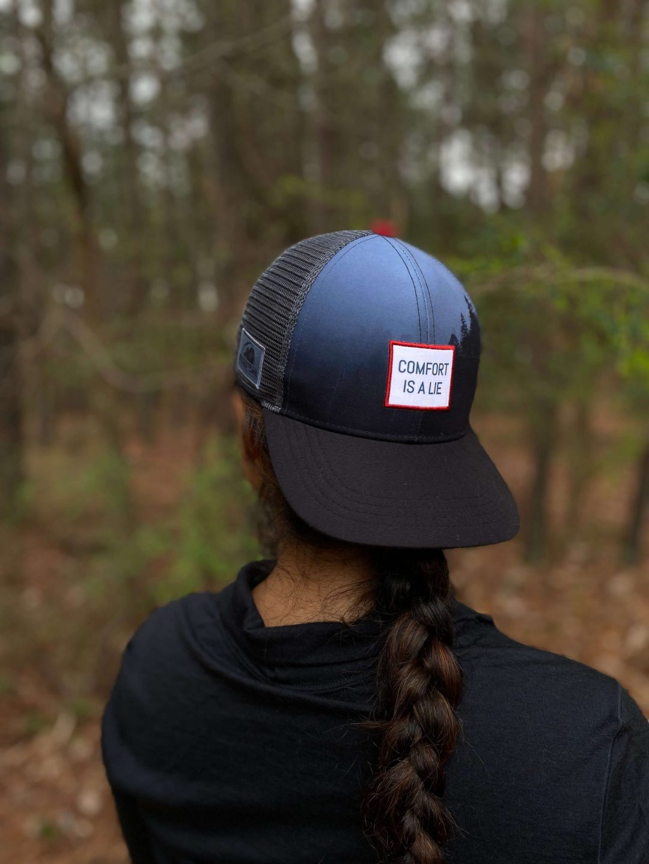 'Comfort Is A Lie' trail / ultra running performance trucker hat