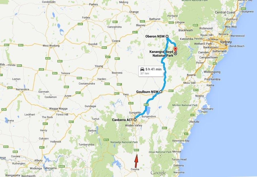 Canberra to Kanangra Boyd National Park