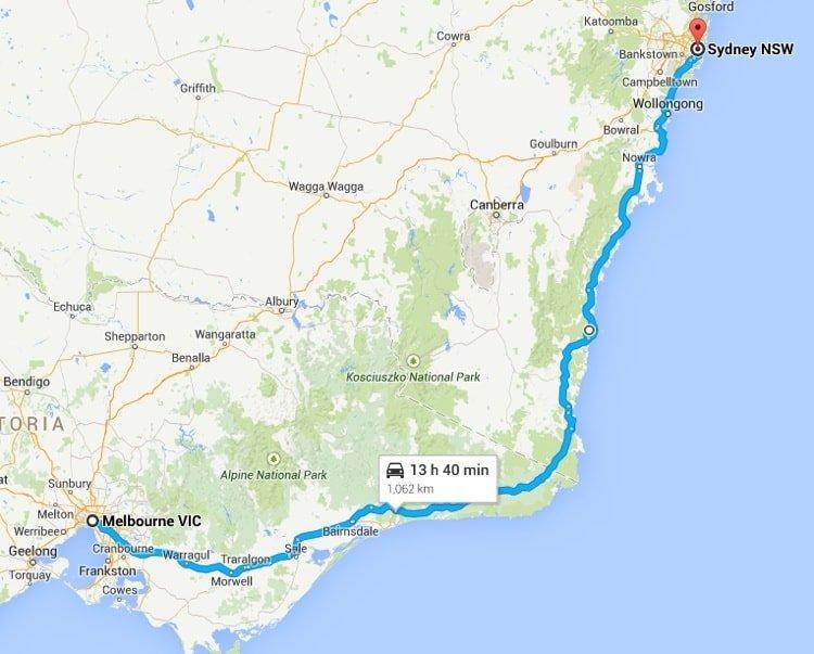 Driving around Australia on Highway One - Melbourne to Sydney