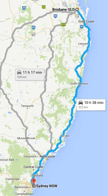 Driving around Australia on Highway One - Sydney to Brisbane