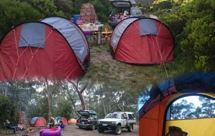 Free Camping Tasmania in Instant Pop Up Tents