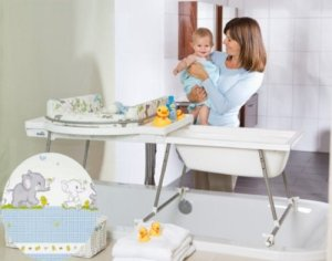 Geuther Aqualino Wickelaufsatz mit Babywanne