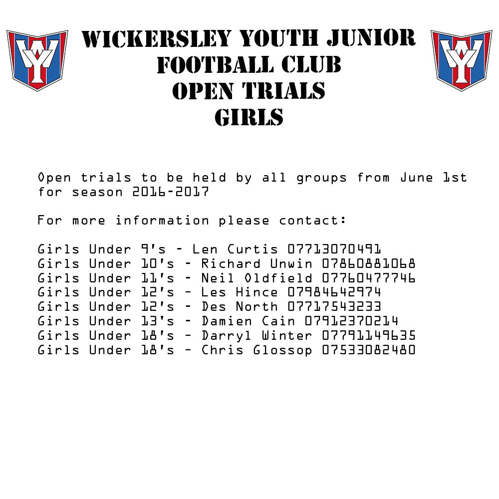 Wickersley Youth Trials Girls