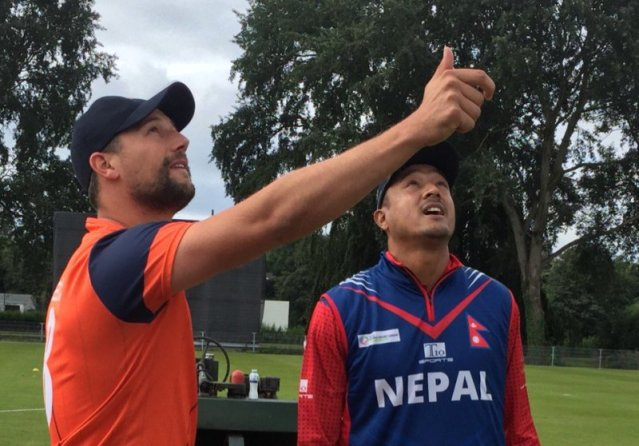 Paras Khadka during toss