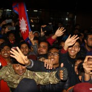 Nepali Cricket Fans at Airport to Welcome Nepali Cricket Team