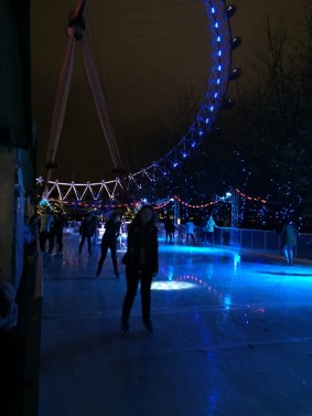 Ice skating at the foot of The London Eye