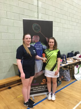 Carly and Morven with their trophy