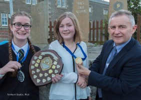 Shona Tait, Proxime Accessit and Caitlyn Taylor, Dux, with Mr J Steven