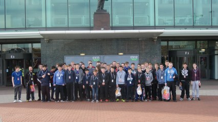 The lads outside the United Megastore
