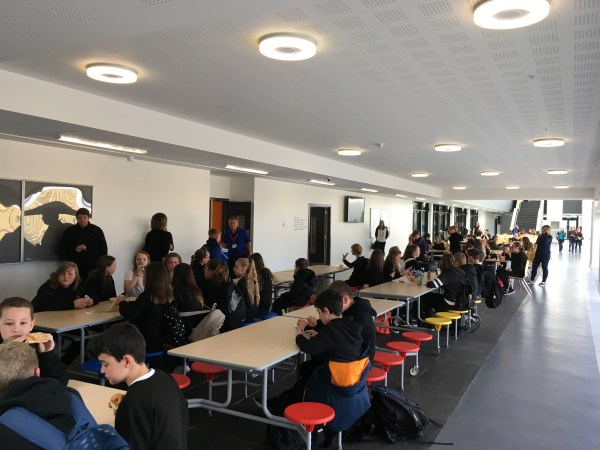The S1 cohort enjoy their new canteen and dining area.