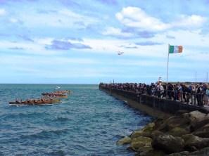 The start of a race during Wicklow Regatta, shot along New Pier