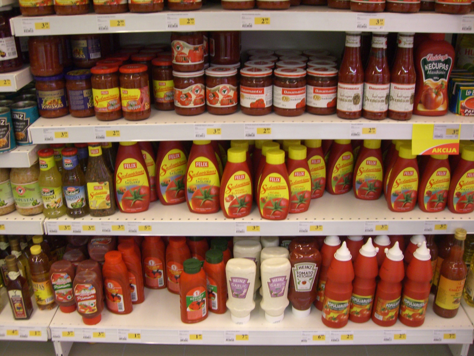 Small Lithuanian market's vast ketchup offering