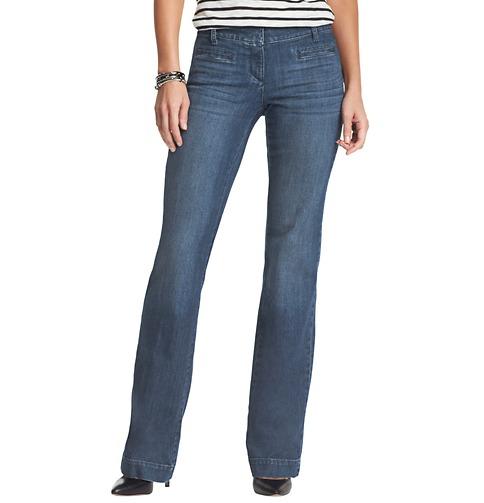 Loft Curvy Trouser Leg Jeans in Winded Blue Wash. Image from Ann Taylor Loft.