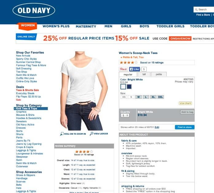 Old Navy Scoop-Neck Tee. Screenshot from oldnavy.com.