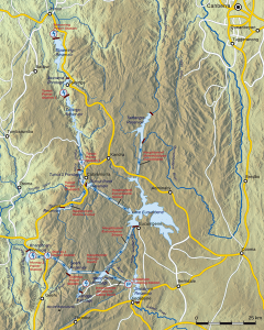 A map of the Snowy Mountain Scheme, not Canberra, top right, and Thredbo, bottom left.