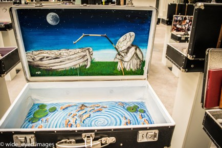 There was an exhibition on German artists. Each artist prepared a suitcase and filled it as they liked. This one grabbed my attention. The fishing rod extended out of the image, and dangled into the suitcase below.