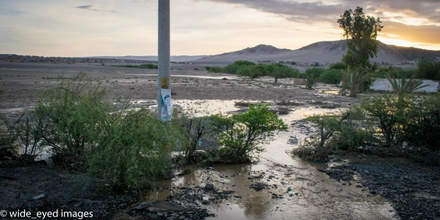 Flooding along the road from Huacachina, Peru