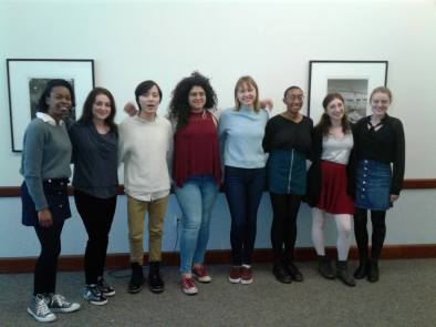 Reading for Unity performers (l-r: Jasmine Kouyate, Natalie Kawam, Andrew Nguyen, Iyanna Rosado, Michaela Kotziers, Maya Arthur, Kelsey Styles, Jennifer Rohrbach)