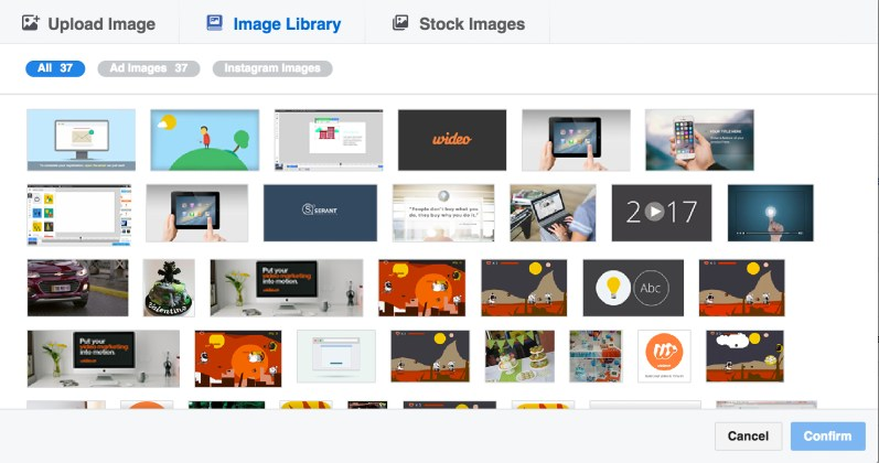 select an image from your library or upload a new one