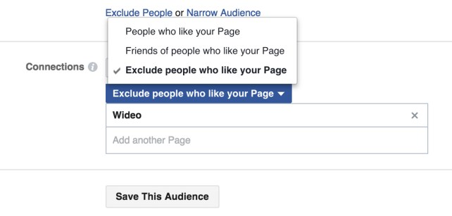 exclude people who like your Page from the Connections drop-down.