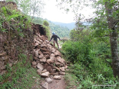 Sudeep dons his helmet and does a traverse - the trail was usually passable.
