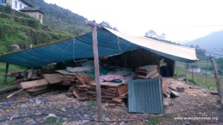 We slept on boards in Pasang's wood cutting shelter