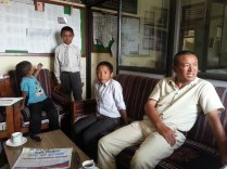 Dorjee with Lakpa, Nima and Mimgma at Buddha Academy discussing about the progress of our existing students with the principal.