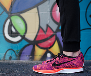 Woman in trainers ready to run