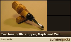 Click for details: Two tone bottle stopper, Maple and Walnut