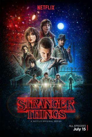 """Plakat """"Stranger Things"""", jakby żywcem przeniesiony z lat 80."""