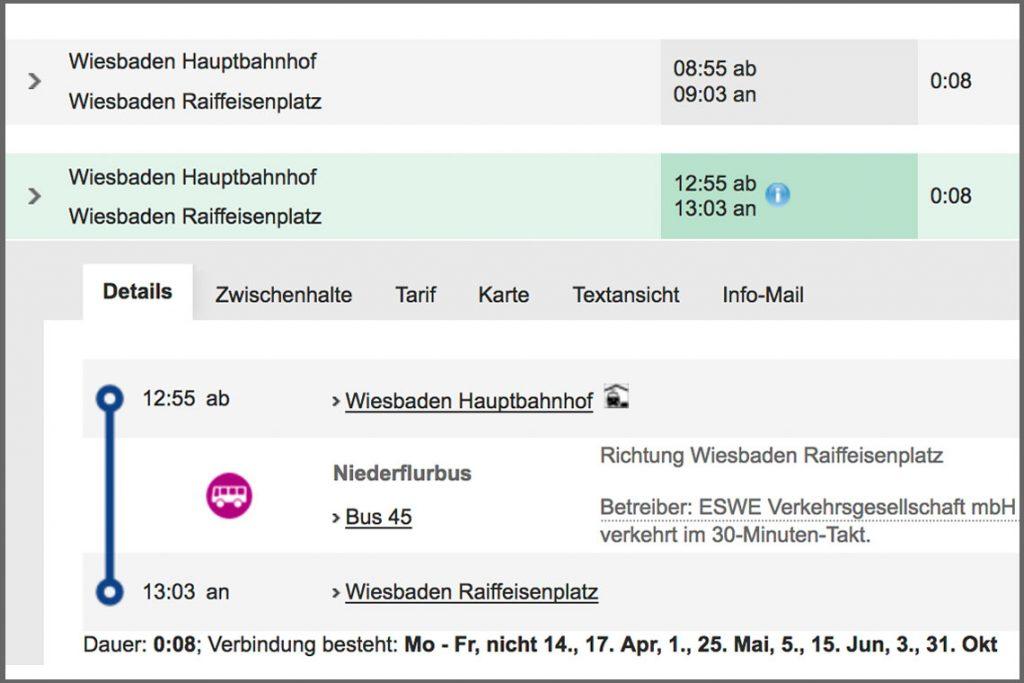ESWE Online-Fahrplan der Buslinie 45 am Samstag, 4. März, 13:00 Uhr. Foto: www.eswe-verkeht.de / Volker Watschounek