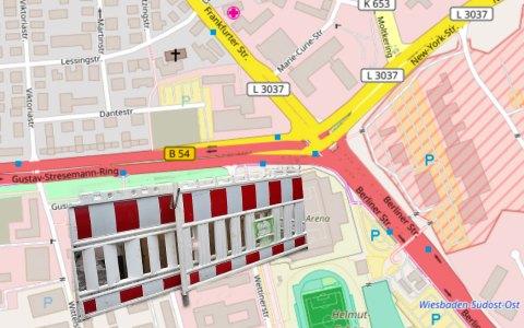 Vollsperrung: Berliner Straße/New-York-Straße/Frankfurter Straße/Gustav-Stresemann-Ring. Bild: Volker Watschounek / Openstreet