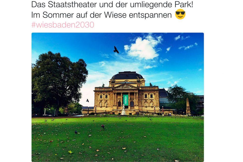 Das Siegerfoto von Jeannine Berg. Es zeigt das Staatstheater und den Warmen Damm. Für sie ein toller Ort, um im Sommer auf der Wiese zu entspannen.