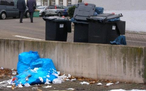 Die Mülltonnen quillen über und wenn der Müll nicht mehr in der Tonne Platz findet, dann eben dahinter! Bild: Martina Roell / Flickr / BY-CC