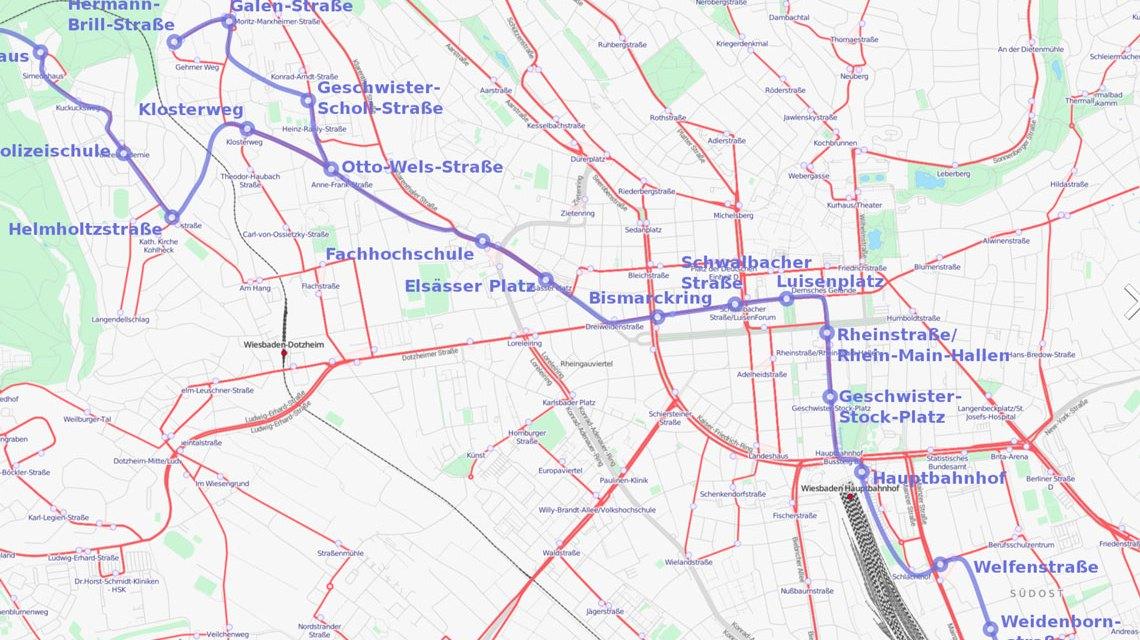 Plan der Linie 1, der Stadtbahn, 5. Dezember 2014. Bild: Wikipedia CC-BY-CA 2.0