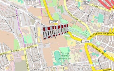 Sperrung: Bereich der Goerdeler Straße zwischen Theodor-Haubach-Straße und Carl-von-Ossietzky-Straße. Bild: Openstreet