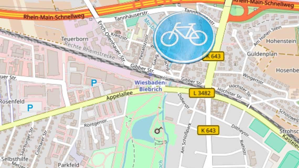 Radweg vom Herzogsplatz bis zur Zufahrt zur A 643. ©2018 OpenStreet Mag / Volker Watschounek