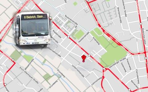 Die Linie 8 und die N 9 werden wegen der Vollsperrung der Waldstraße von Montag, 26. März, um 9 Uhr, umgeleitet. © 2018 Open Street Map