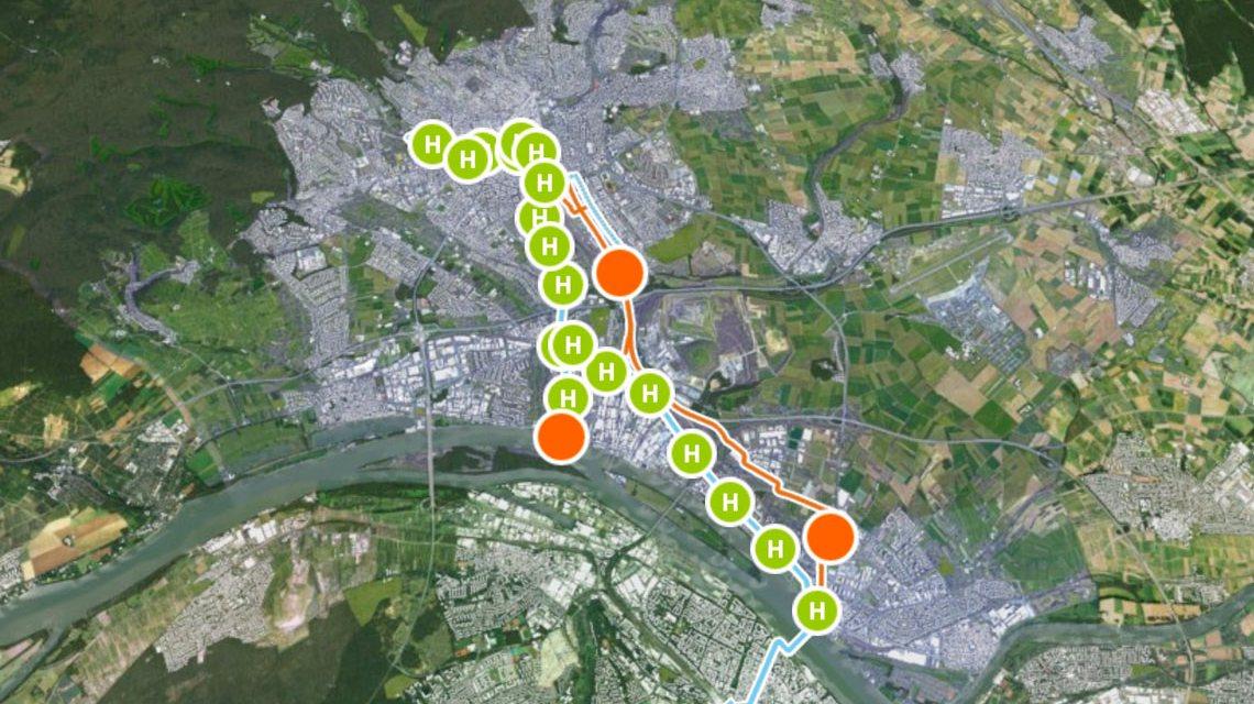 Streckenführung der CityBahn nach aktuellem Planungsstand auf der Webseite https://www.citybahn-verbindet.de/planung-buergerbeteiligung/ ©2018 City Bahn