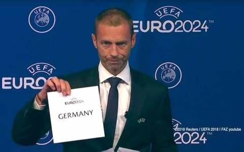 Die EURO 2024 findet in Deutschland statt. Der Deutsche Fußball-Bund (DFB) darf zum zweiten Mal nach 1988 und zum ersten Mal nach der Wiedervereinigung die Fußball-EM ausrichten. ©2018 Reuters / UEFA / FAZ-youtube