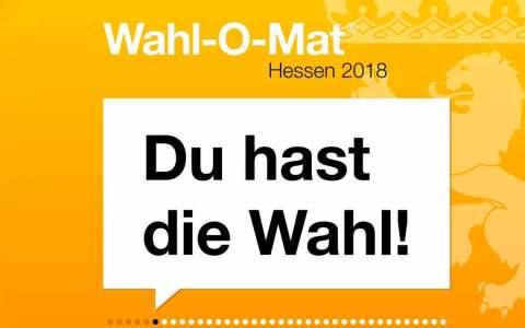 Hessen wählt am 28. Oktober und der Wahlomat soll Sie unterstützen, Ihre Meinung zu finden, zu bilden. ©2018 Land Hessen / Landeszentrale für politische Bildung