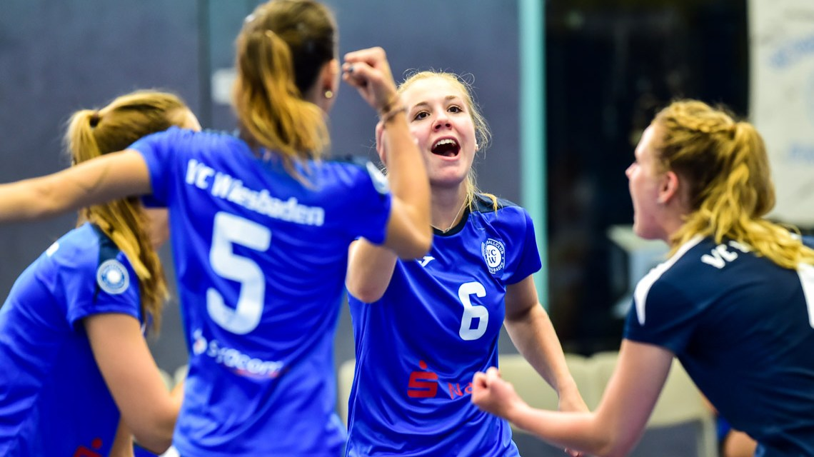 Archivbild: Volleyball 2. Bundesliga Süd Frauen   Saison 2018.2019   1. Spieltag   VC Wiesbaden II - TV Holz   1:3