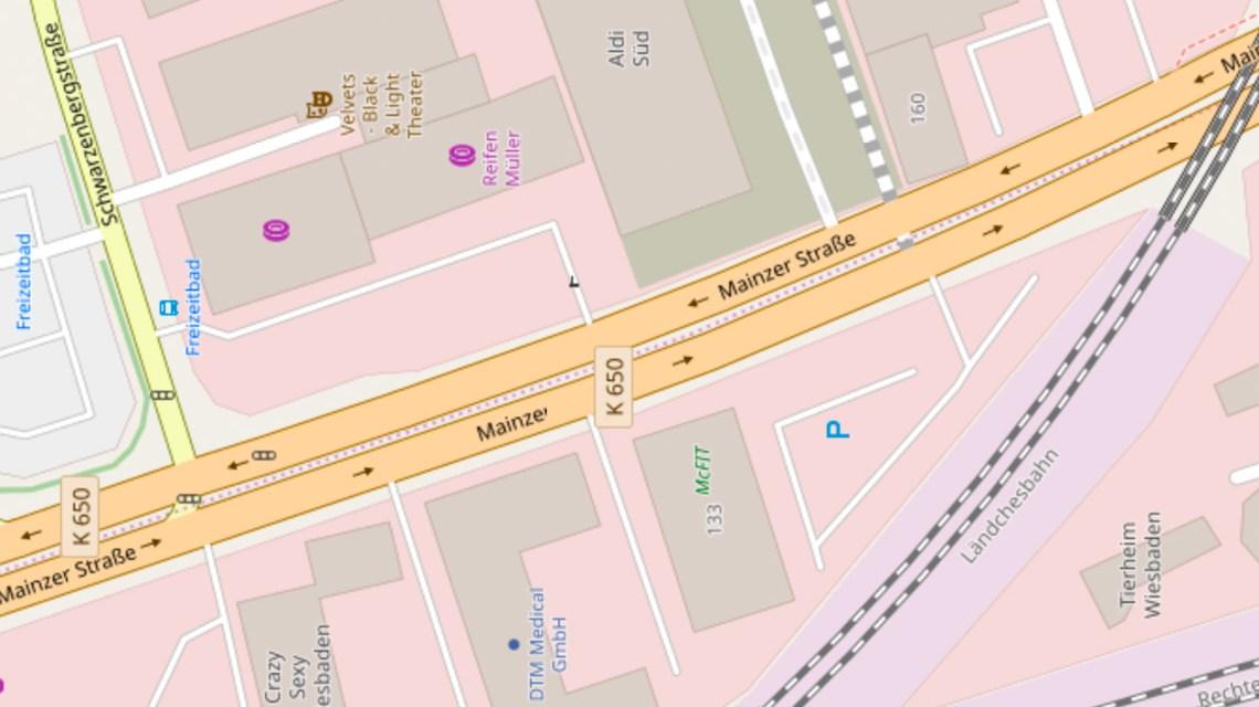 Verengte Verkehrsführung Mainzer Straße. ©2019 Openstreetmap