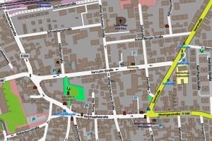 Vollsperrung der Karl-Lehr-Straße ©2019 Openstreetmap