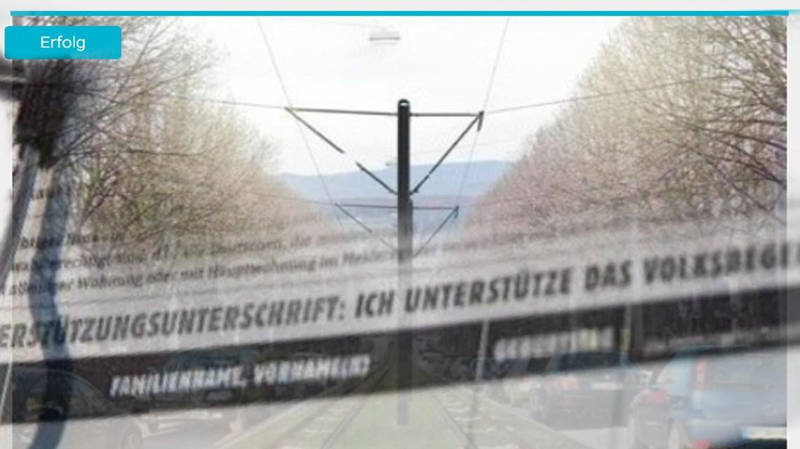 Unterschriftenaktion zur City-Bahn erfolgreich. Jetzt entscheiden dei Wiesbadener. ©2019 Volker Watschounek