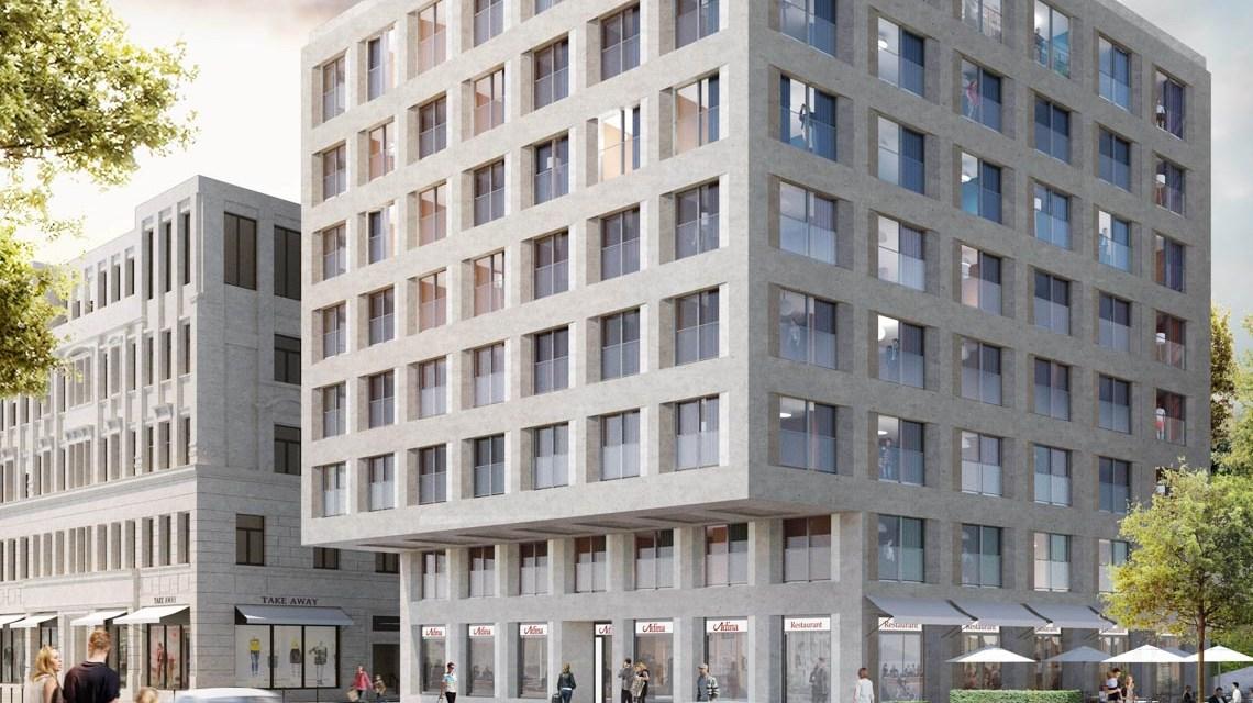 Adina-Hotelprojekt am KURECK. ©2019 Max Dudler Architekten, Berlin